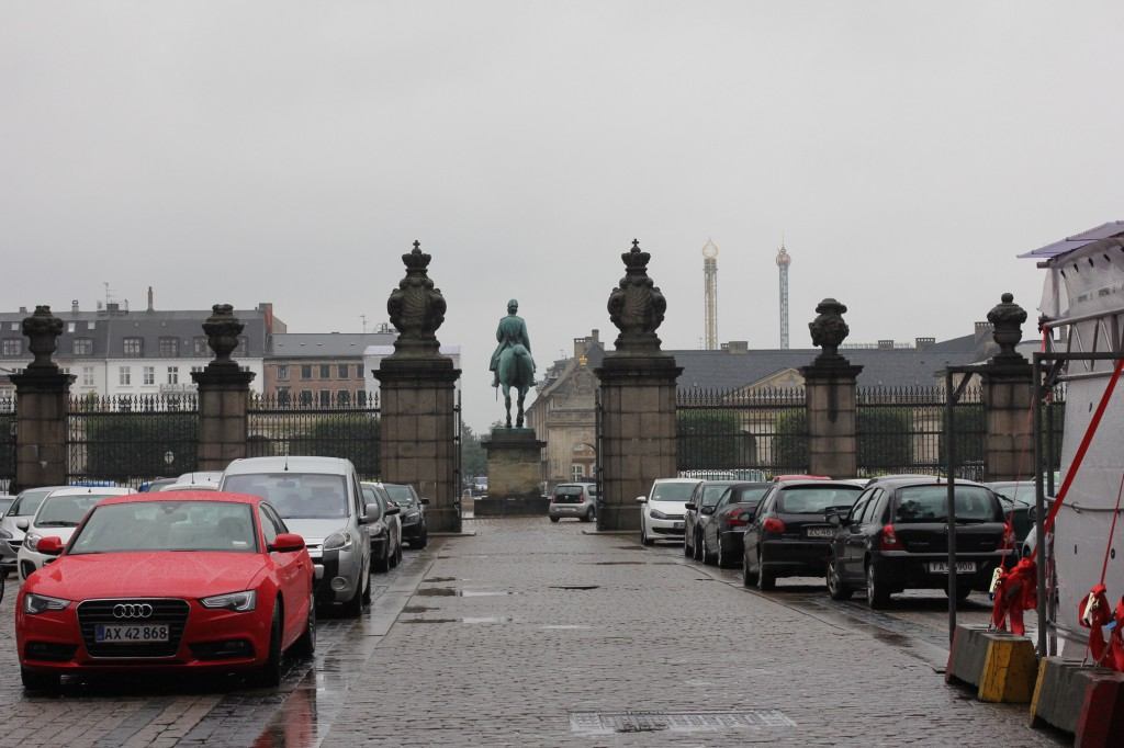 Christiansborgs slott där Folketinget ligger. Utsikt inifrån gården.